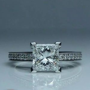 New 14K White Princess Cut Diamond Engagement Ring